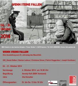 """""""wenn Steine fallen"""" eine Ausstellung zum 25. Jahrestag des Mauerfalls.  In der Galerie BBK Aachen Arkaden, verlängert bis 13.11.2015"""