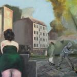 Frau grünes Kleid Acryl / Lw 120 x 100 cm