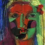 Frau 2015, Mischtechnik auf Buchdeckel, 28 x 23 cm