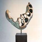 Kosmisches Herz Bronze durch Wachsausschmelzverfahren gegossen. 65*42*17cm mit Granit Sockel