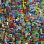 o. T., 2013, Acryl/Pastelkreide auf Leinwand, 125 cm x 140 cm