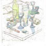 """""""Ateliertisch"""", 2011, Lithomonotypiegraphie auf Bütenpapier, Unikat 60 x 40 cm, Blatt 70 x 50 cm"""