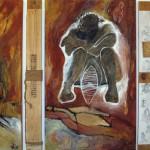 LEBENSSPUR . DO NOT DROP - Geschichte einer Migration 2014 (mixed media - Erden, Acryl, Öl, Tusche, Grafit, LW + Holzplanken 270x150cm)