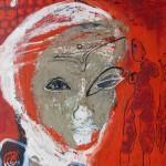 ICH TRAGE NACHT IN MIR . Kleine Königin 2014 (mixed media - Erden, Öl, Grafit, Tusche, LW 60x40cm)