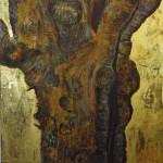 Baobab, Goldene Zeiten; 2018, Öl, Wachs aufLW 80 x 80 cm