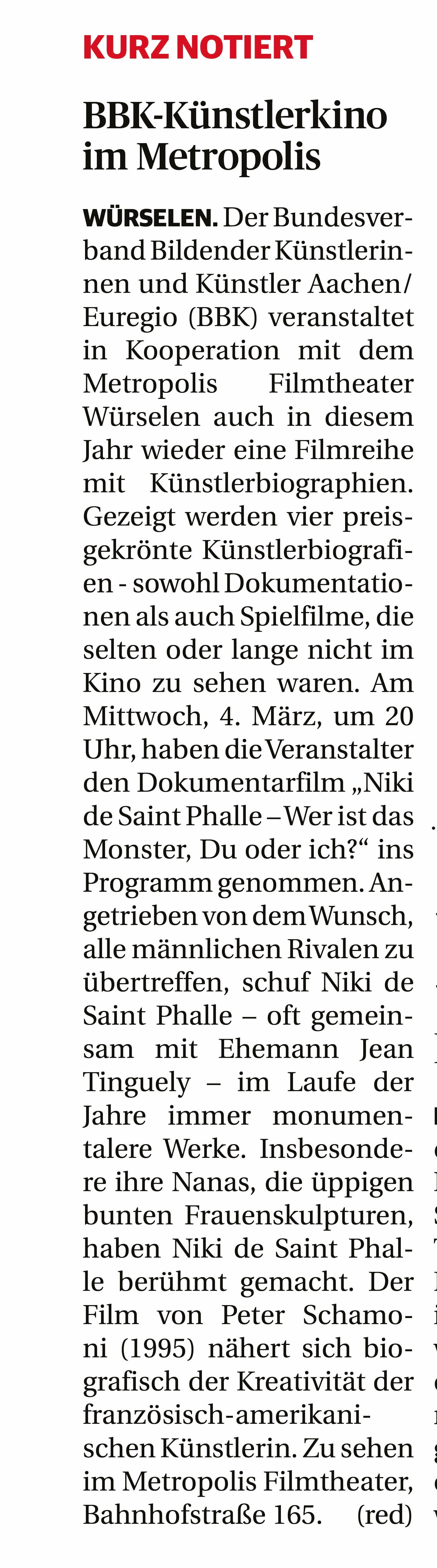 Künstlerkino Aachener Zeitung am Sonntag 16.02.2020